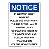 Osha Notice If Elevator Is Not Working To White Metal Sign Aluminum Signs 12X16 Inch