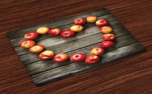 Rustic Apple (Lunarable Rustic Place Mats Set of 4, Rustic Wooden Surface Fresh Ripe Apples Artistic Veggies Fruit Healthy Living Theme, Washable Fabric Placemats for Dining Room Kitchen Table Decoration, Brown Red)