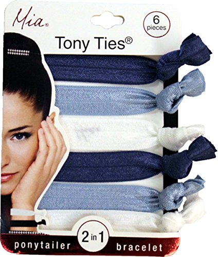 Mia Tony Ties-2 in 1 Hair Ties And Bracelets-Wear One On Your Wrist To Always Have One Ready! Beautiful Solid Colors: 2 Nautical Navy Blue, 2 Light Blue Jeans, 2 - Blue Navy Pradas