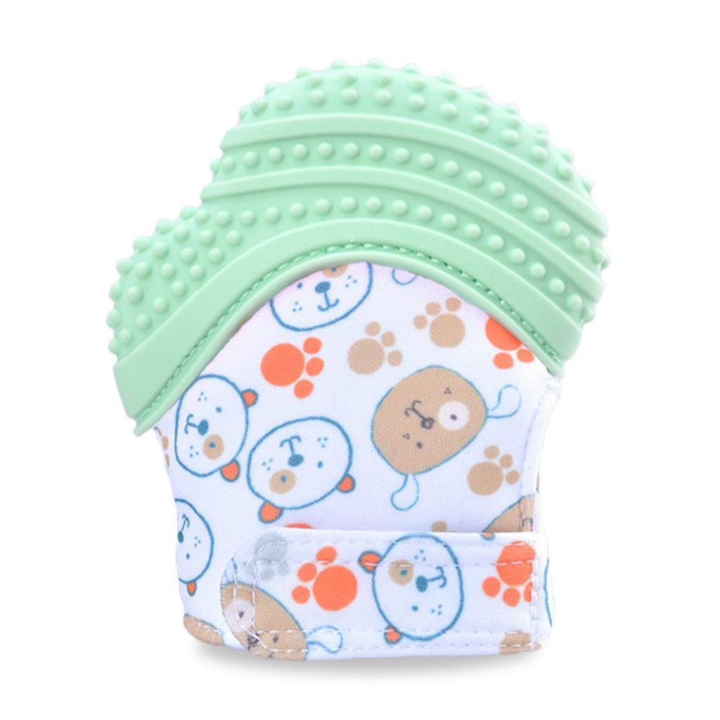 Teething Mitten for Babies Premium Quality Silicone Teether Toy Soothing Pain Relief 10x8cm (4 x 3 in) (Color : Green, Size : 2xpacks) by YUFEI