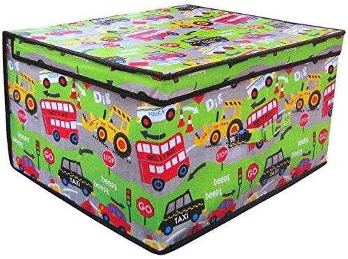 2 x Jumbo Large Toy Boxes Book Bedding Laundry Kids Childrens Storage Chest (Pink Hearts) Beamfeature