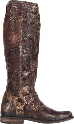 Frye Mujer's Phillip Studded Arnés Tall Bota Chocolate Glazed Vintage Leather