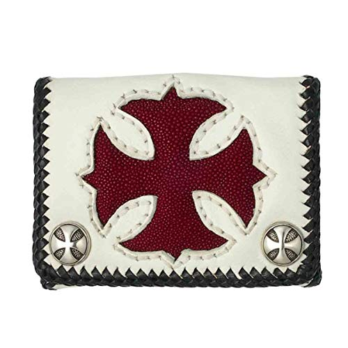 (Short White Cowhide Leather Trifold Wallet w/Red Stingray Cross)