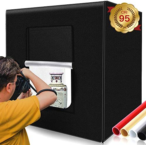 SAMTIAN Photo Box for Photography Black,White, Red and Orange Photo Light Box 32x32x32 Inches 126 LED Light Photo Studio Shooting Tent Table Top Photography Lighting Kit with 4 Background Paper