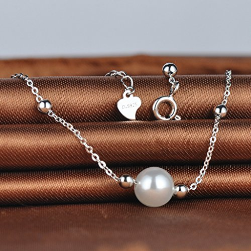 Infinite U Women's Charm Bracelet 925 Sterling Silver 8mm Simulated Pearl Beads Adjustable Chain with Extension by Infinite U (Image #3)