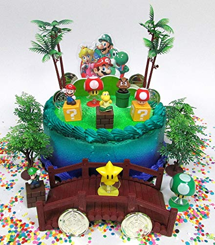 Super Mario Brothers Deluxe Game Scene Birthday Cake Topper Set Featuring Figures and Decorative Themed -