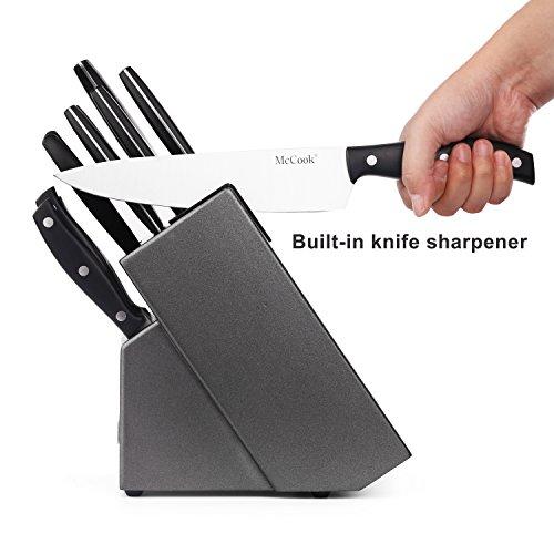 McCook MC39 14 Pieces Full Tang Triple Rivet Kitchen Knife Block Set with Built-in Sharpener and Kitchen Scissor, Black