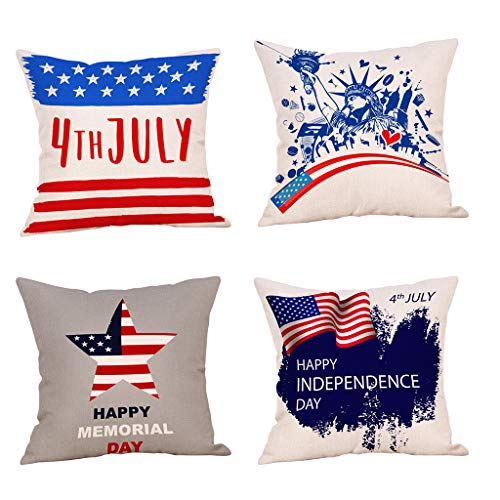 Qingell Decorative Cushion Cover Square Throw Pillow Case Set of 4,Independence Day Style Throw Pillowcase Pillow Covers