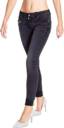 Blue Monkey Damen Cropped Jeans Honey 7178 Black