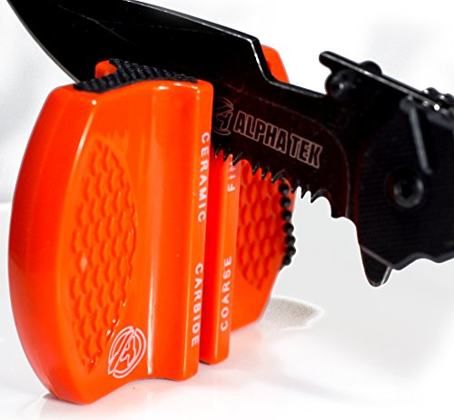 ALPHA TEK Pocket Hunting Knife Sharpener: Tungsten Carbide Ceramic Rod - For Camping and Outdoors (DAY GLOW ORANGE) ()