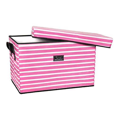 Panama Storage - SCOUT Rump Roost Large Lidded Storage Bin, Collapsible and Stackable, Reinforced Side Handles and Bottom, Water Resistant (Panama Pink)