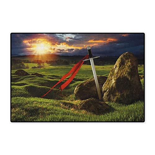 King,Door Mat Non Slip,Arthur Camelot Legend Myth in