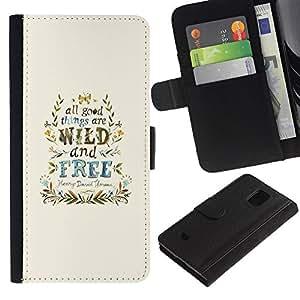 Stuss Case / Funda Carcasa PU de Cuero - Viento Libre Good Things guirnalda azul - Samsung Galaxy S5 Mini, SM-G800