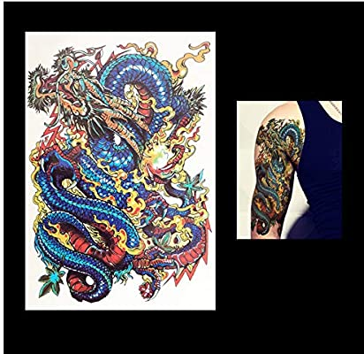 Tatuajes Temporales Niños Futbol Lucky Blue Dragon Flower Manga ...