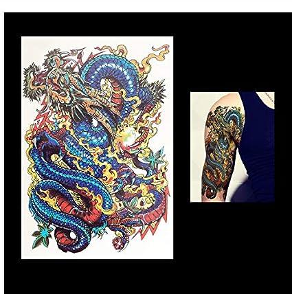 yyyDL Etiqueta engomada del tatuaje Lucky Blue Dragon Flower manga ...