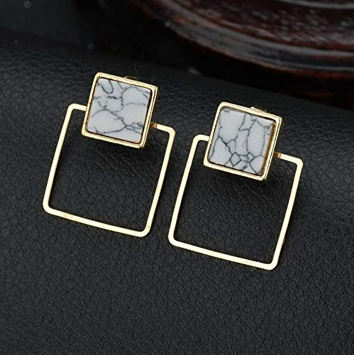 Tomikko Simple Marble Geometric Circular Triangle Square Hoop Stud Hook Earrings Jewelry | Model ERRNGS - 8557 |