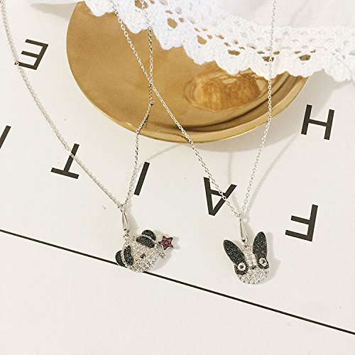 Generic New cartoon animal pet puppy dog ??necklace Micro Pave clavicle chain jewelry accessories women girls lady panda diamond pendant