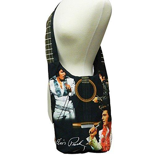 Pocket Poly Hobo w Elvis Zippered Body Material Canvas Cross Presley Purse tqvvwgfXx