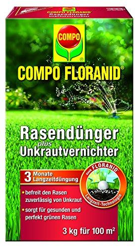 Compo Rasenpflege Floranid dünger plus Unkrautvernichter 3 kg für 100 m², grün