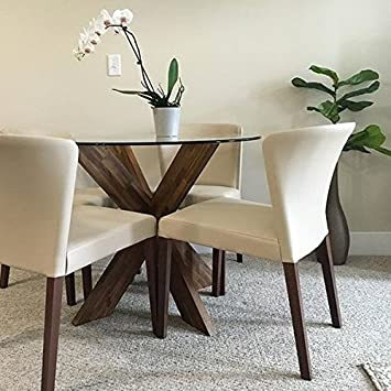 LIFE Home Thick Round Tempered and Beveled Clear Glass Dining Table Top Replacement 48 inch x 1 2 inch Thick