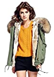 S.ROMZA Women Thick Real Rabbit Fur Parka Hooded Coat Winter Jacket Detachable Fur Trim (Large, Army Green & Tan Fur)