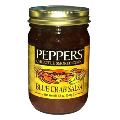 Crab Salsa - Peppers Blue Crab Chipotle Smoked Corn - (3 Pack of 12 Oz. Bottles)