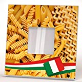 Italian Noodle Pasta Cuisine Wall Framed Mirror Food Fan Art Pizzeria Cafe Decor Home Design Gift