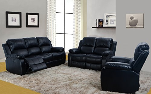 Home Garden Collections 3 Piece Bonded Faux Leather Motion Recliner Sofa, Loveseat, Chair Set - Black (Total 5 Recliners) Product SKU: HF3007LS3