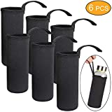 STARVAST Neoprene Water Bottle Insulator Cooler Coolies Sleeves, Collapsible Nylon Bottle Sleeve Carrier for 12-19.4 oz Bottles or Cans (6pcs,Black)