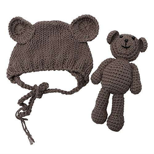 (Newborn Baby Bear Hat Beanie with Bear Dolls Photography Accessories,Brown)