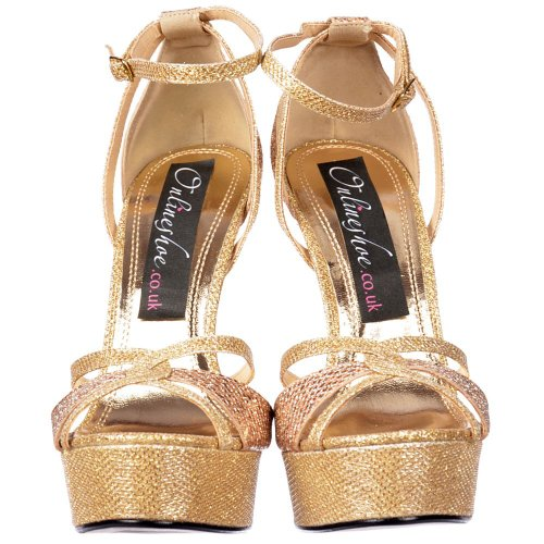 Onlineshoe Cross Peep Glänzend Gold Glitter Gold Glitter Riemchen Toe Stiletto Over Gold Damen Toe ArxZqnA