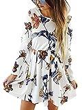 kigod Womens Casual Floral Print Waist Skater Dresses Long Sleeve...