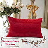 Decorative Pillow Cover - Home Brilliant Valentines Day Pillow Covers Decor Decorative Striped Corduroy Solid Cushion Cover Throw Oblong Pillowcase for Kids/Toddler, 12 x 20, Red