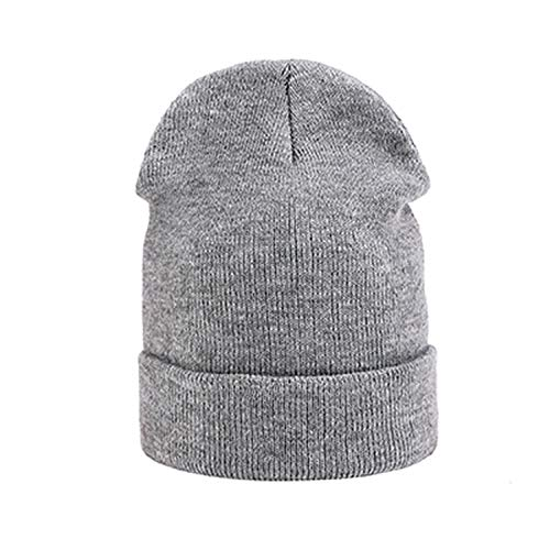 (2018 Women Winter Beanie hat Female Warm Cap Cotton Casual Wool Solid Beanie Hat for Men Unisex Bonnet LightGray)