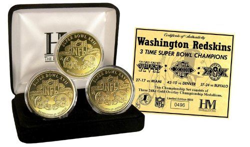 NFL Washington Redskins 3 Time Super Bowl Champions 5 Gold Coin Set, Gold, 14