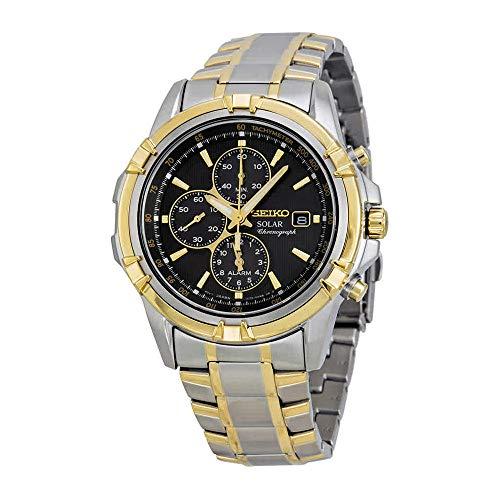 Seiko Solar Chronograph Black Dial Two-Tone Mens Watch SSC142
