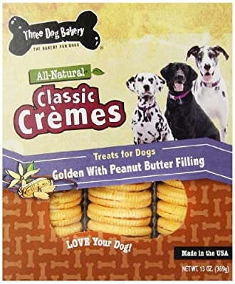 Three Dog Bakery 13-Ounce Classic Cremes Carob with Peanut Butter Filling Baked Dog Treats