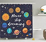 Cute Curtains Quotes Decor Shower Curtain Set By Ambesonne, Cute Outer Space Planets And Star Cluster Solar System Moon And Comets Sun Cosmos Illustration, Bathroom Accessories, 69W X 70L Inches, Multi