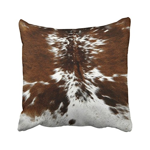 - Tarolo Decorative Throw Pillow Cases Covers Decorative Tri Color Brown Cowhide Print 16x16 Inches Cove Case Pillowcase Two Sided