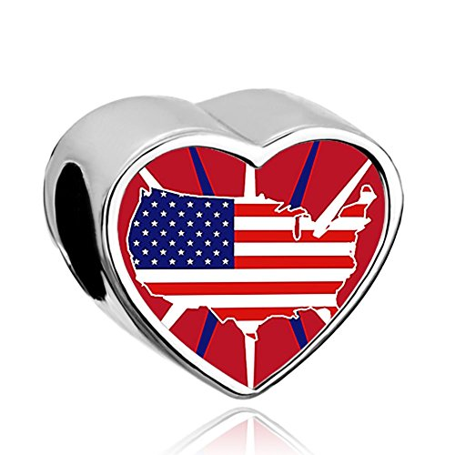 Galleon Charmsstory Heart Patriotic Independence Day Charm