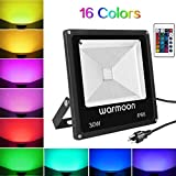 Warmoon RGB LED Flood Lights 30W Outdoor Dimmable 16 Colors Changing Waterproof LED Security Wall Washer Light with Remote Control US 3-Plug for Garages, Warehouses, Backyards, Parking Lots