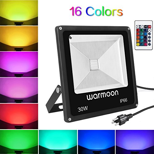 Wall 1 Washer Light (Warmoon RGB LED Flood Lights 30W Outdoor Dimmable 16 Colors Changing Waterproof LED Security Wall Washer Light with Remote Control US 3-Plug for Garages, Warehouses, Backyards, Parking Lots)
