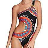 Women Monokini Retro Thong One Piece Sexy Ladies Printed One Shoulder Swimsuit Bodysuit Hollow Casaul Beachwear Bathing Suit