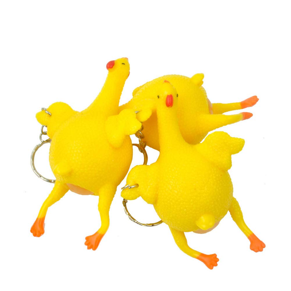 DierCosy 3pcs Interesting Egg-Laying Squeeze Toy Relieve Stress Creative Key Egg Toy Chicken Ball Ease