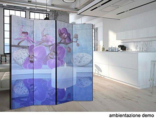 Alta qualit/à 3 Pannelli Separ/è Paravento bifacciale Klimt in Tela di Cotone e Legno 135,6 x 176 x 3,1cm