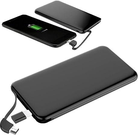 Jinclonder, 5000mAh Universal Ultra Slim Light Power Bank, batería Externa USB Tipo C, Cargador portátil para Smartphones, Cable Micro Incorporado: Amazon.es: Hogar