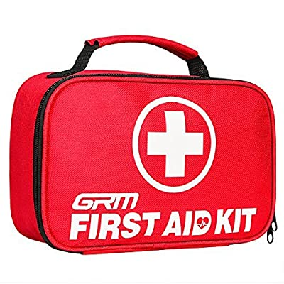 First Aid Kit (130 Pieces), GRM FDA Approved Compact Emergency Survival Kit with Waterproof Bag for Home, School, Office, Car, Travel, Sports, Hiking from GRM