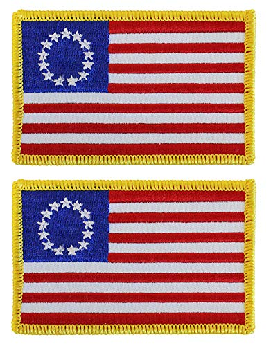 - Antrix 2 Pcs Betsy Ross 1776 US USA American Flag Patch Tactical Military Embroidered Betsy Ross Iron On Sew On Badge Emblem Morale Patch