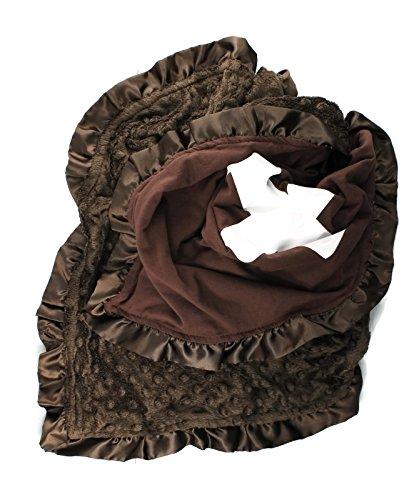Onyx Arrow Baby Blanket, Brown Football Cotton Print, Brown Minky Dot, Satin Ruffle Trim, Mix and (Football Baby Shower Ideas)