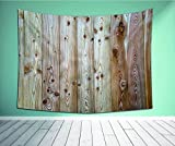 """Avamam Tapestry Wall Art Rustic Monochrome Wood Minimalist Rough Lined Up Tiled Logs Row Plank Surface Image Cream-S Wall Hanging For Bedroom Living Room Dorm Size-86""""Wx56""""H"""